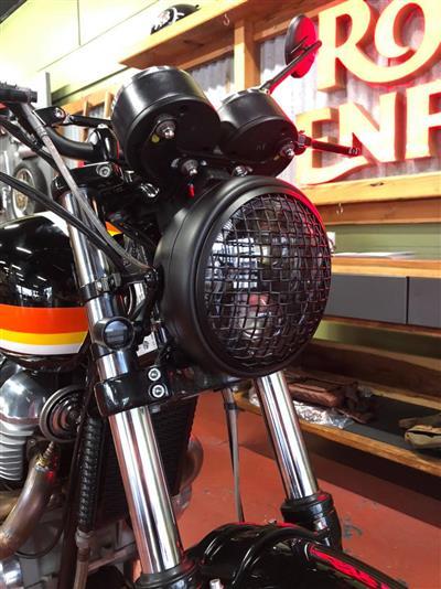 "MESH SIDE MOUNT MOTORCYCLE HEADLIGHT - 7.7"" BLACK"